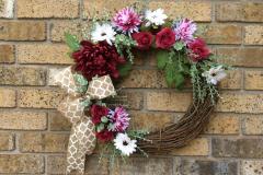 "Burgundy Mums, Roses + Decorative Burlap Ribbon 18"" Grapevine Wreath"