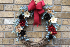 """Coloured Wooden Flowers 18"""" Grapevine Wreath"""