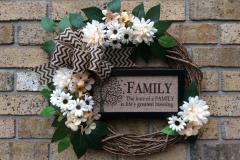 "Family Blessing + Off-White Mums + Chevron Ribbon 18"" Grapevine Wreath"