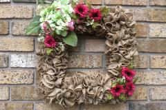 """Fuchsia Mums + White Berries 18"""" Square Burlap Wreath"""