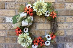 "Green Mums + White Daisies 18"" Grapevine Wreath"