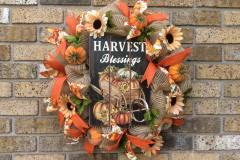 "Harvest Blessings 24"" Beige Sparkly Deco Mesh Wreath"