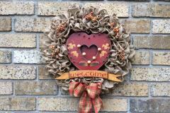 "Heart-Shaped Music Box Welcome 18"" Burlap Wreath"