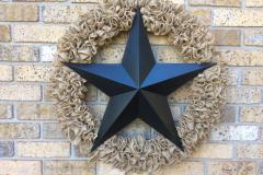 """Large Metal Black Star 36"""" Burlap Wreath"""