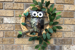 """Large Metal Owl and Real Branch 24"""" Willow Wreath"""