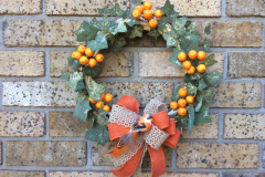 "Mini Pumpkins, Bird + English Ivy 12"" Grapevine-Wreath"