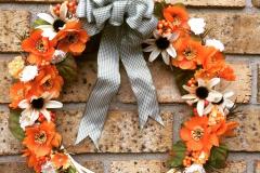 "Multi Orange Flowers + Off White Daisies 12"" Willow Wreath"