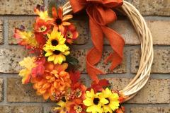 "Orange Flower + Mini Sunflower 12"" Willow Wreath"