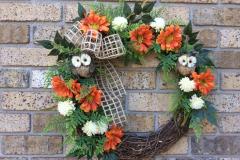 "Owls + Orange Mums 18"" Grapevine Wreath"