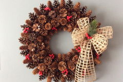 """24"""" Pinecone Wreath with Berries and Open Burlap Wired Ribbon"""