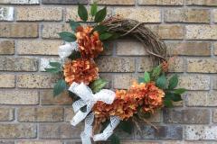 """Rust Coloured Hydrangea + White Burlap Ribbon 18"""" Grapevine Wreath"""