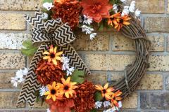 "Rust Coloured Mums + Orange-Daisies Chevron 18"" Grapevine Wreath"