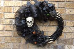 "Skeleton Head + Hands Black Deco Mesh 18"" Grapevine Wreath"