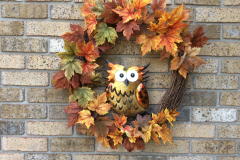 """Sparkly Metal Owl + Fall Leaves 24"""" Grapevine Wreath"""