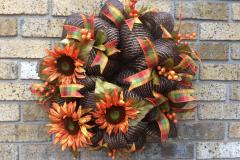 """Sunflower Brown Sparkly Deco Mesh 24"""" Wreath"""