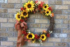 "Sunflower, Daisies, Mums + Fall-Leaves 24"" Grapevine Wreath"