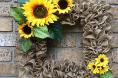 """Sunflowers + Leaves 18"""" Square Burlap Wreath"""