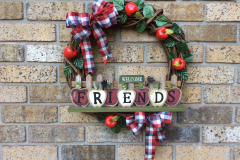 """Welcome Friends Apple Sign 12"""" Grapevine Wreath"""