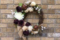 "White Mums + Burgundy-Roses 18"" Grapevine Wreath"