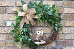 """Wood Shaving Owl On Real Branch 12"""" Grapevine Wreath"""