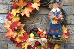 """Wooden Lady, Wicker Basket + Fall-Leaves 18"""" Grapevine Wreath"""