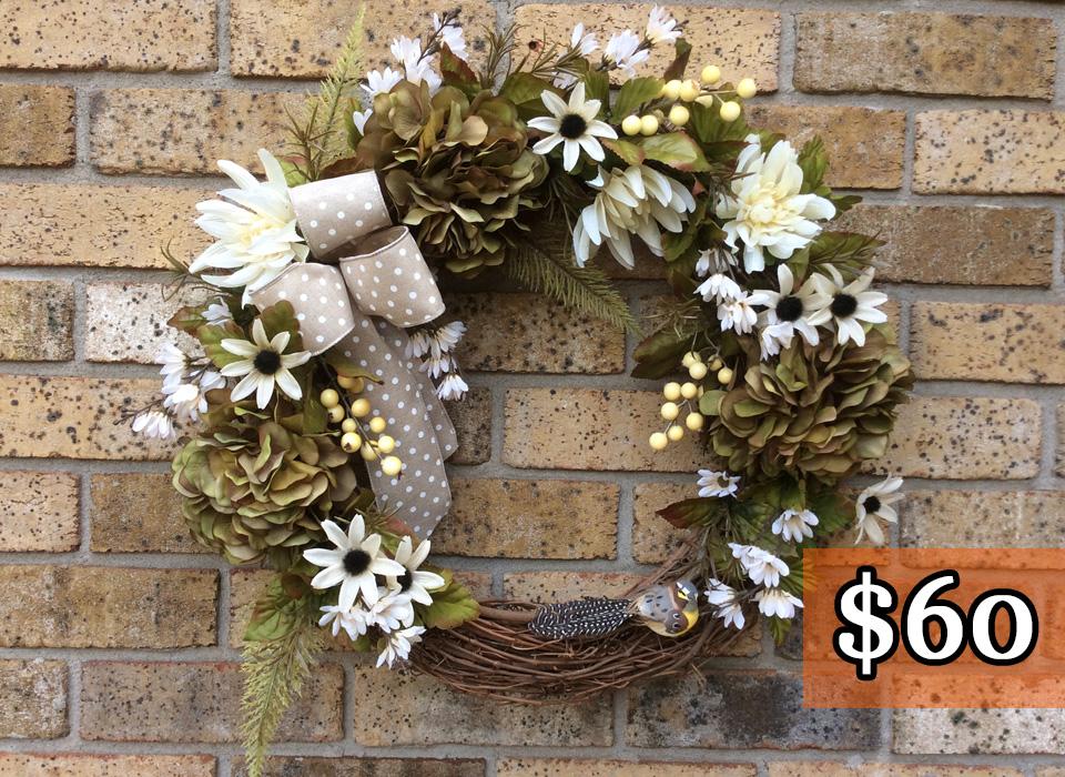 """Green + Brown Hydrangeas + Bird 18"""" Grapevine Wreath"""
