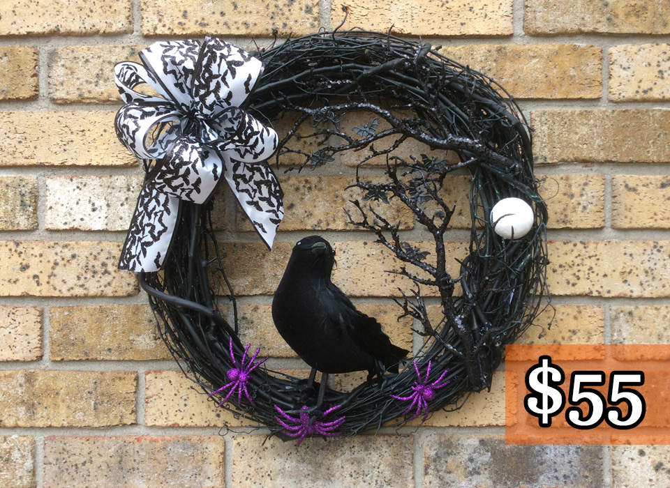 "Halloween Crow Painted Black 18"" Grapevine Wreath"