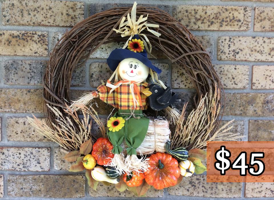 "Scarecrow, Crow + Pumpkins 18"" Grapevine Wreath"