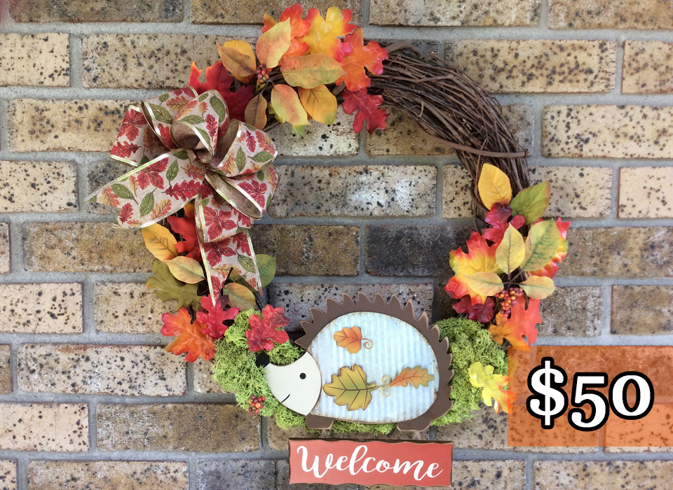 "Welcome Hedgehog + Fall Leaves 18"" Grapevine Wreath"