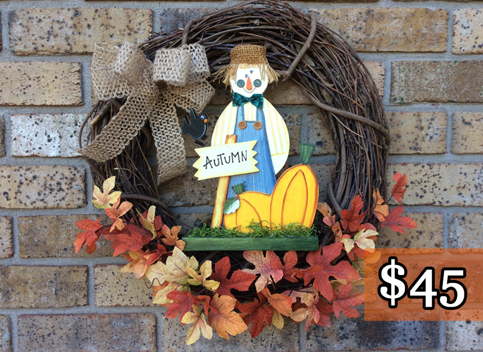 """Wooden Scarecrow + Fall Leaves 18"""" Grapevine Wreath"""