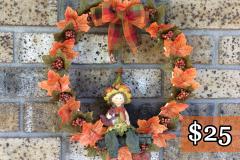 """Ceramic Elf Girl Squirrel 12"""" Willow Wreath"""