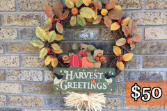 "Harvest Greetings, Pumpkins + Fall Leaves 18"" Grapevine Wreath"