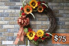 "Large Orange + Yellow Sunflowers, Mums + Cat Tails 24"" Grapevine Wreath"