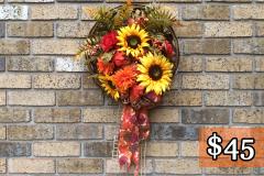 "Large Sunflower + Orange Mums 18"" Wall Basket"