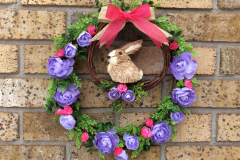 """12"""" Wood Bunny Ring Grapevine Wreath"""