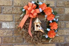 "17"" Metal Birdcage Burlap Wreath"