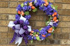 """17"""" Mini Bunny and Purple Lilac Grapevine Wreath"""