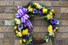 """17"""" Fuzzy Chick and Yellow Tulip Grapevine Wreath"""