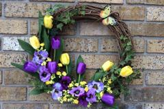 "17"" Purple Tulip and Pansies Grapevine Wreath"