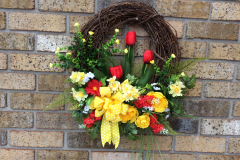 """17"""" Red Tulip and Yellow Ranunculus Grapevine Wreath"""