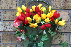 Red and Yellow Tulip Metal Wall Basket