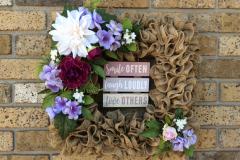 """12"""" Smile Laugh Love Burlap Square Wreath"""