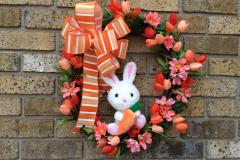 """17"""" White Rabbit and Orange Tulip Grapevine Wreath"""