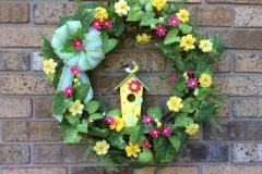 "17"" Wooden Birdhouse Grapevine Wreath"