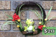 "Ceramic Frog 12"" Grapevine Wreath $20"