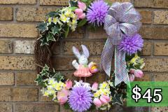 "Ceramic Spring Bunny 17"" Grapevine Wreath $45"
