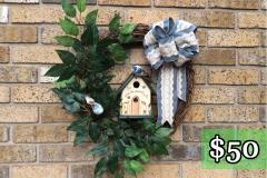 "Hand-Painted Birdhouse 20"" Grapevine Wreath $50"