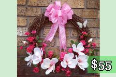 """Magnolia and Azalea 17"""" Grapevine Wreath $55"""