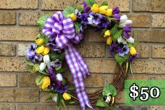 """Mini Tulip Grapevine 17"""" Grapevine Wreath $50"""