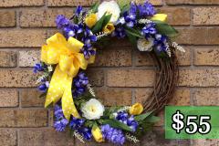"Purple Lilac 17"" Grapevine Wreath $55"